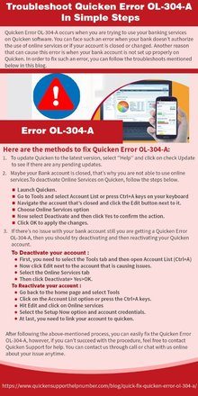 Troubleshoot Quicken Error OL-304-A In Simple Steps